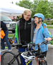 Mayor Polly Sierer talking with a ride participant