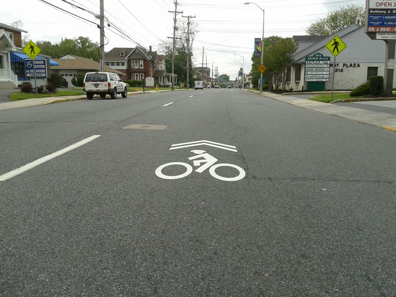 Sharrows on East Main Street