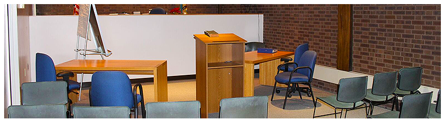An empty Alderman's Court room